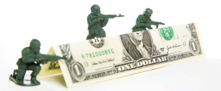 Money, soldier toys