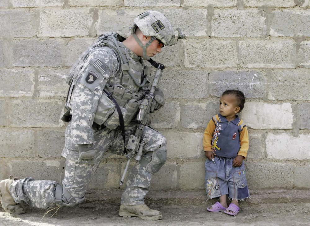 A soldier and a kid